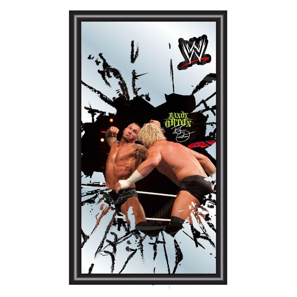 Trademark WWE Randy Orton 15 in. x 26 in. Black Wood Framed Mirror