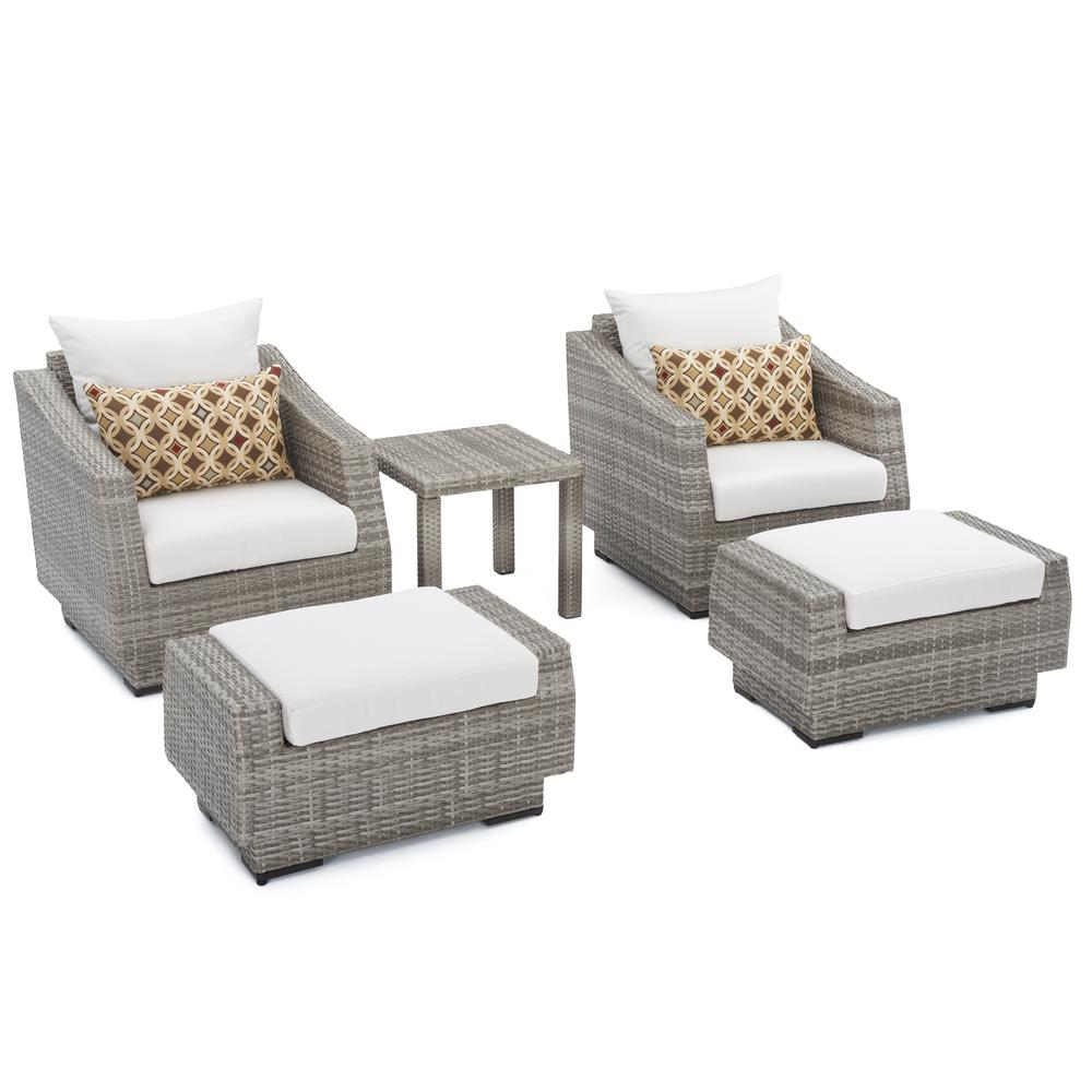 Bon Cannes 5 Piece Wicker Patio Club Chair And Ottoman Set With Moroccan
