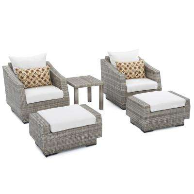 Cannes 5-Piece Wicker Patio Club Chair and Ottoman Set with Moroccan Cream Cushions