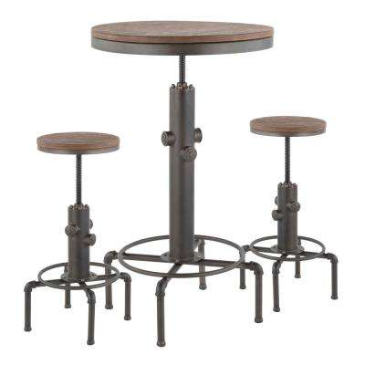 Hydra 3-Piece Industrial Antique Bar Set