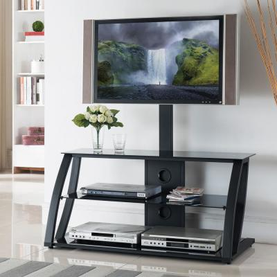 Home Source Jackson industrial Plasma TV Stand with Mount and 3 Black Glass Shelves, Black Frame
