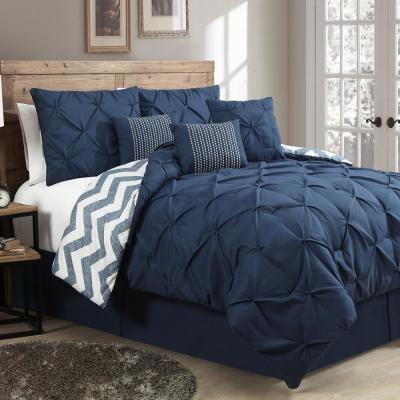 Ella Pinch Pleat Navy King Reversible Comforter with Bedskirt