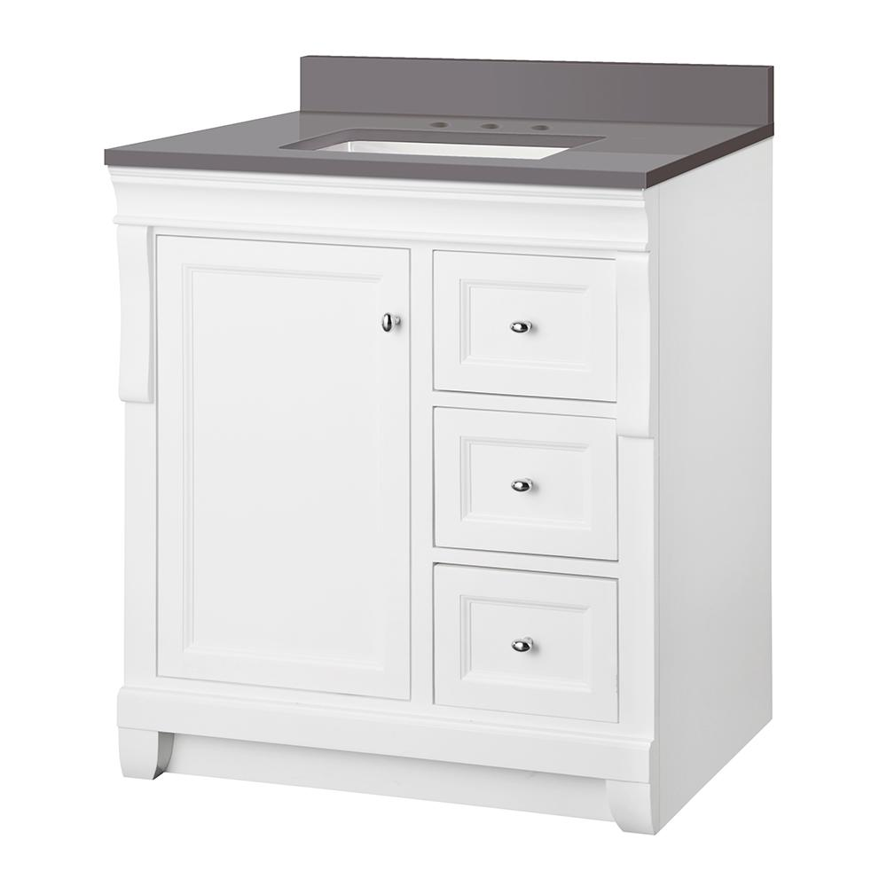 Home Decorators Collection Naples 31 in. W x 22 in. D Vanity Cabinet in White with Engineered Marble Vanity Top in Slate Grey with White Basin was $749.0 now $524.3 (30.0% off)
