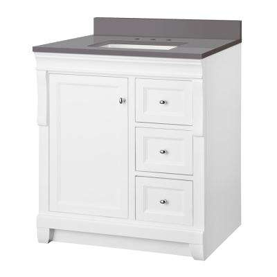 Naples 31 in. W x 22 in. D Vanity Cabinet in White with Engineered Marble Vanity Top in Slate Grey with White Basin