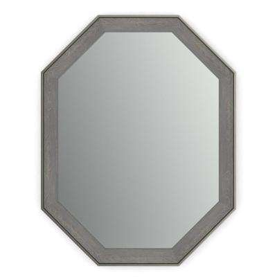 26 in. x 34 in. (M2) Octagonal Framed Mirror with Standard Glass and Easy-Cleat Float Mount Hardware in Weathered Wood