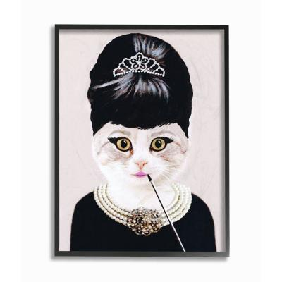 """24 in. x 30 in. """"Fashion Feline Jewelry And Makeup Cat"""" by Coco de Paris Framed Wall Art"""