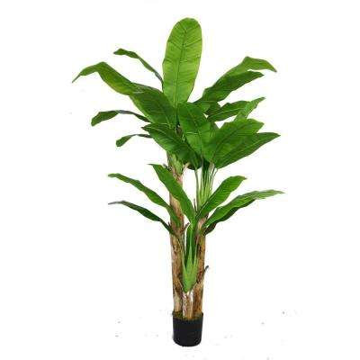 48 in. x 48 in. x 72 in. H Banana Tree with Real Touch Leaves