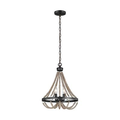 Oglesby 13 in. W 2-Light Stardust Chandelier with Washed Pine Beads and LED Bulbs
