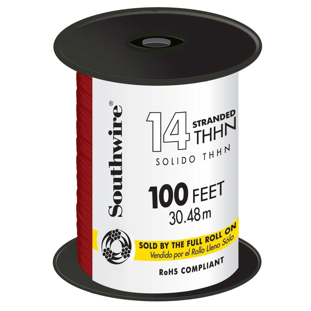 100 ft. 14 Red Stranded CU THHN Wire