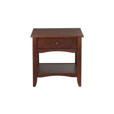 Cedar Springs Rectangular Sable Brown Finish Wood 1 Drawer End Table (21.97 in. W x 21.97 in. H)
