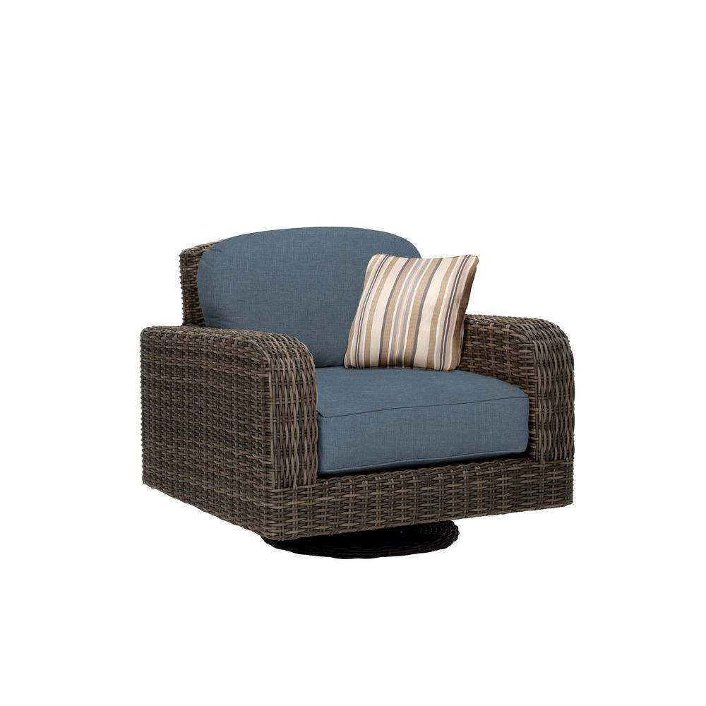 Brown Jordan Northshore Patio Motion Lounge Chair in Denim with Terrace Lane Throw Pillow -- CUSTOM