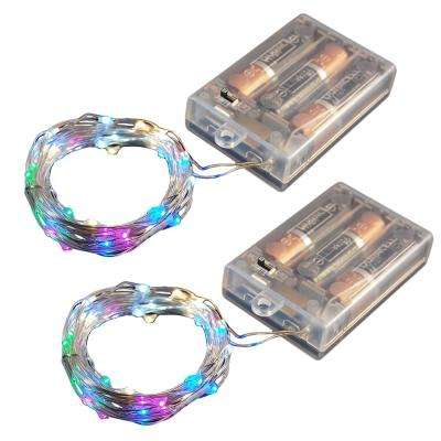Battery Operated LED Waterproof Mini String Lights with Timer (50ct) Multi Color (Set of 2)