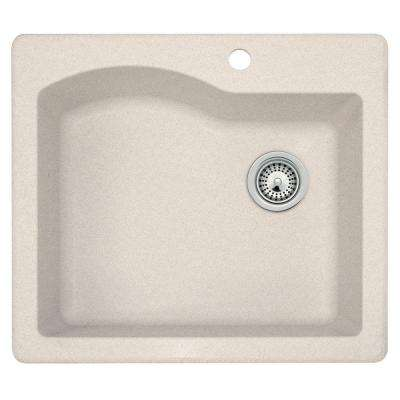 Drop-In/Undermount Granite 25 in. 1-Hole Single Bowl Kitchen Sink in Granito