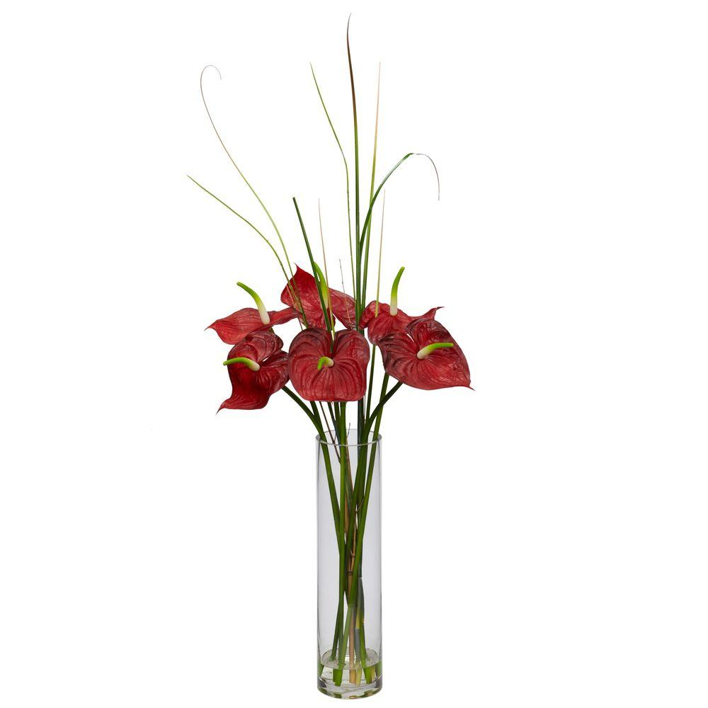 Nearly Natural Tropical Anthurium With Cylinder Arrangement 1290