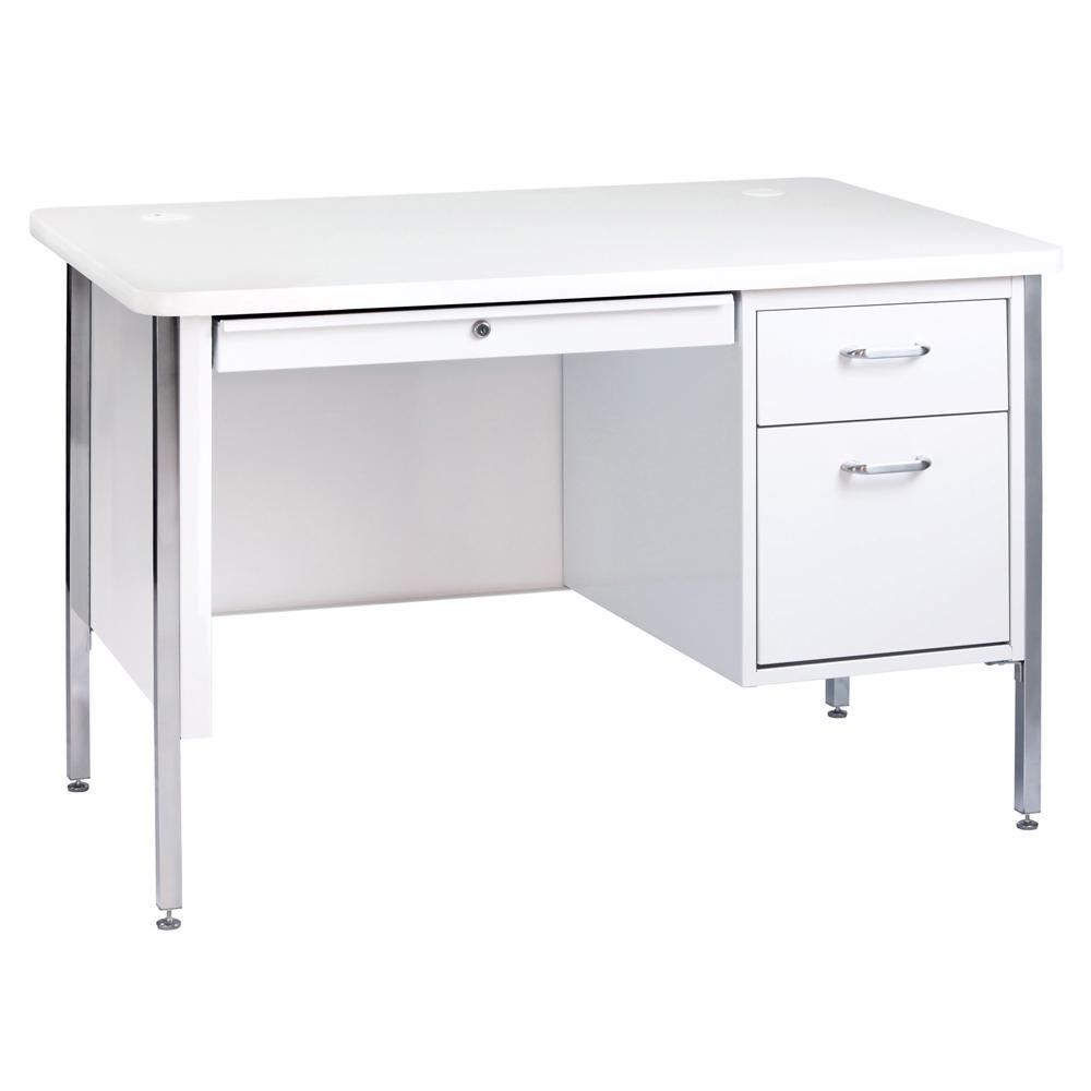 600 Series Artic 48 in. W White Single Pedestal Desk