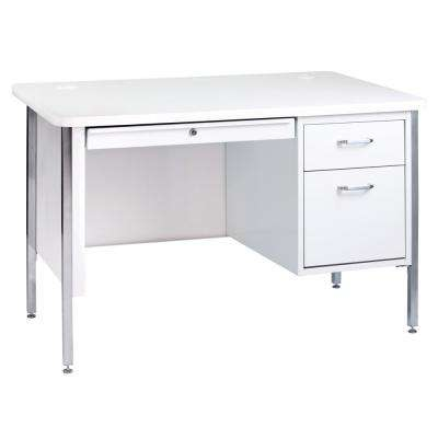 600 Series Artic 48 in. W White Single Pedestal Desk