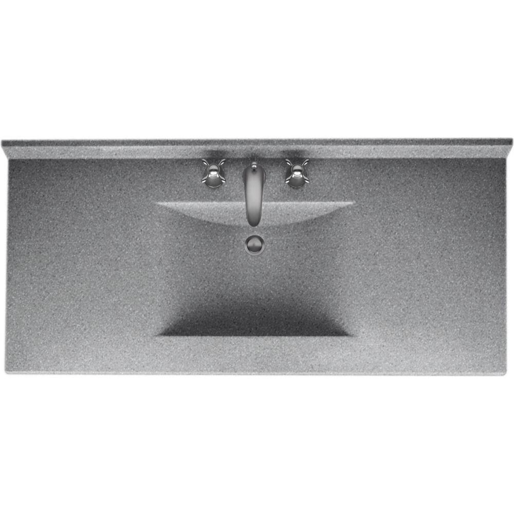 Contour 49 in. Solid Surface Vanity Top in Gray Granite with Gray Granite Basin