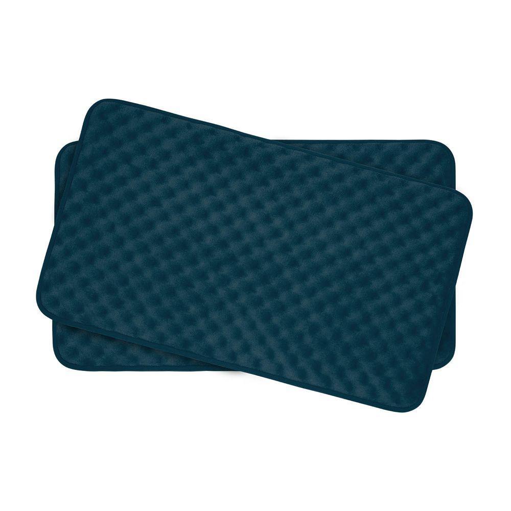 Massage Dusty Blue 17 in. x 24 in. Memory Foam 2-Piece Bath Mat Set
