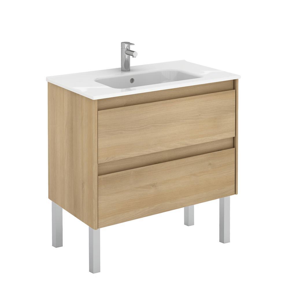 Ambra 31.6 in. W x 18.1 in. D x 32.9 in. H Bathroom Vanity Unit in Nordic Oak with Vanity Top and Basin in White