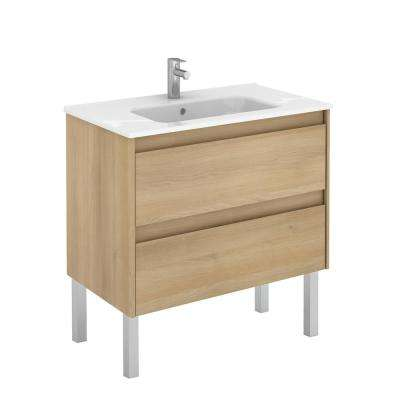 31.6 in. W x 18.1 in. D x 32.9 in. H Bathroom Vanity Unit in Nordic Oak with Vanity Top and Basin in White