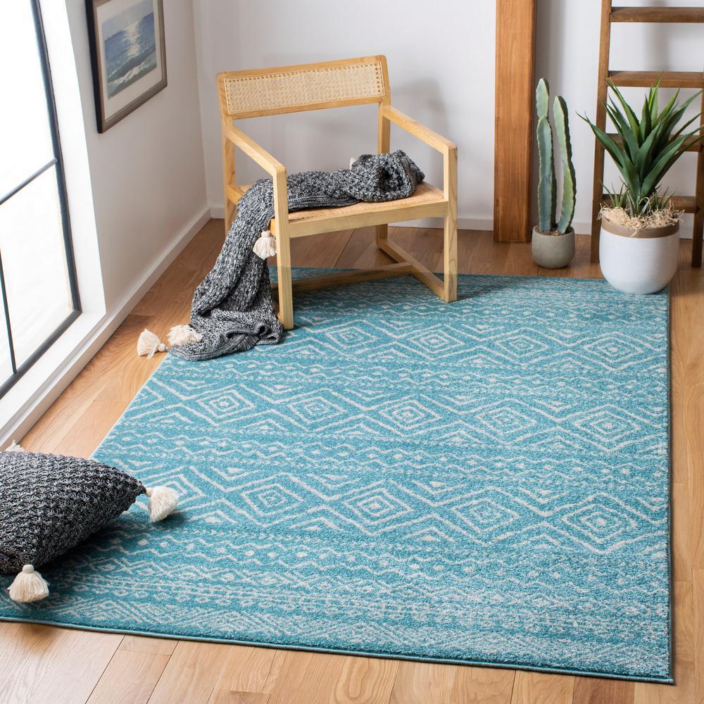Tulum Turquoise/Ivory 6 ft. x 9 ft. Area Rug