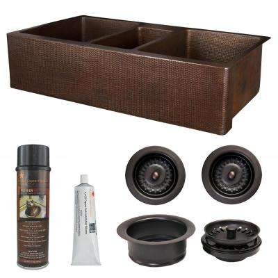 Copper 42 in. Triple Bowl Kitchen Farmhouse Apron Front Sink and Drain in Oil Rubbed Bronze