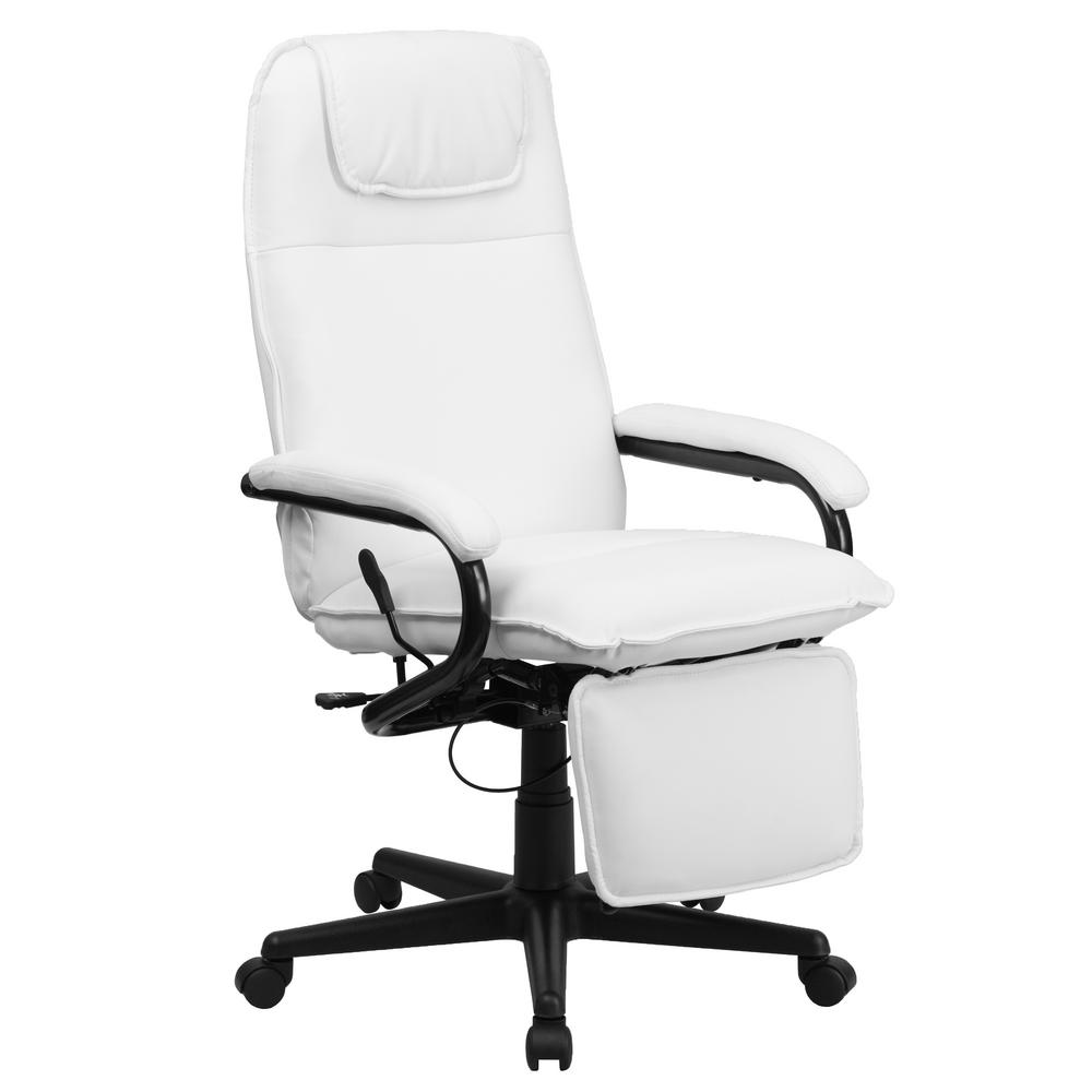 Flash Furniture High Back White Leather Executive Reclining Swivel Office Chair BT70172WH The Home Depot