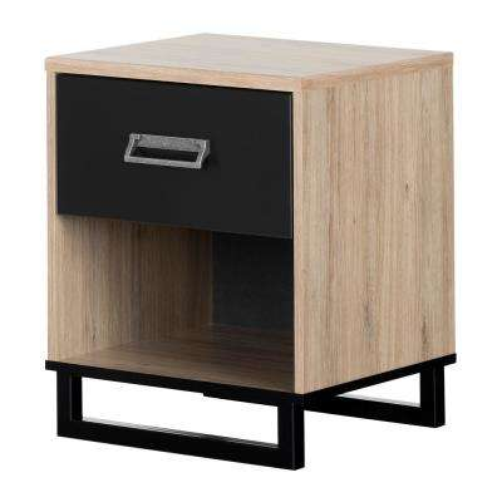 Induzy 1 -Drawer Rustic Oak and Matte Black Nightstand