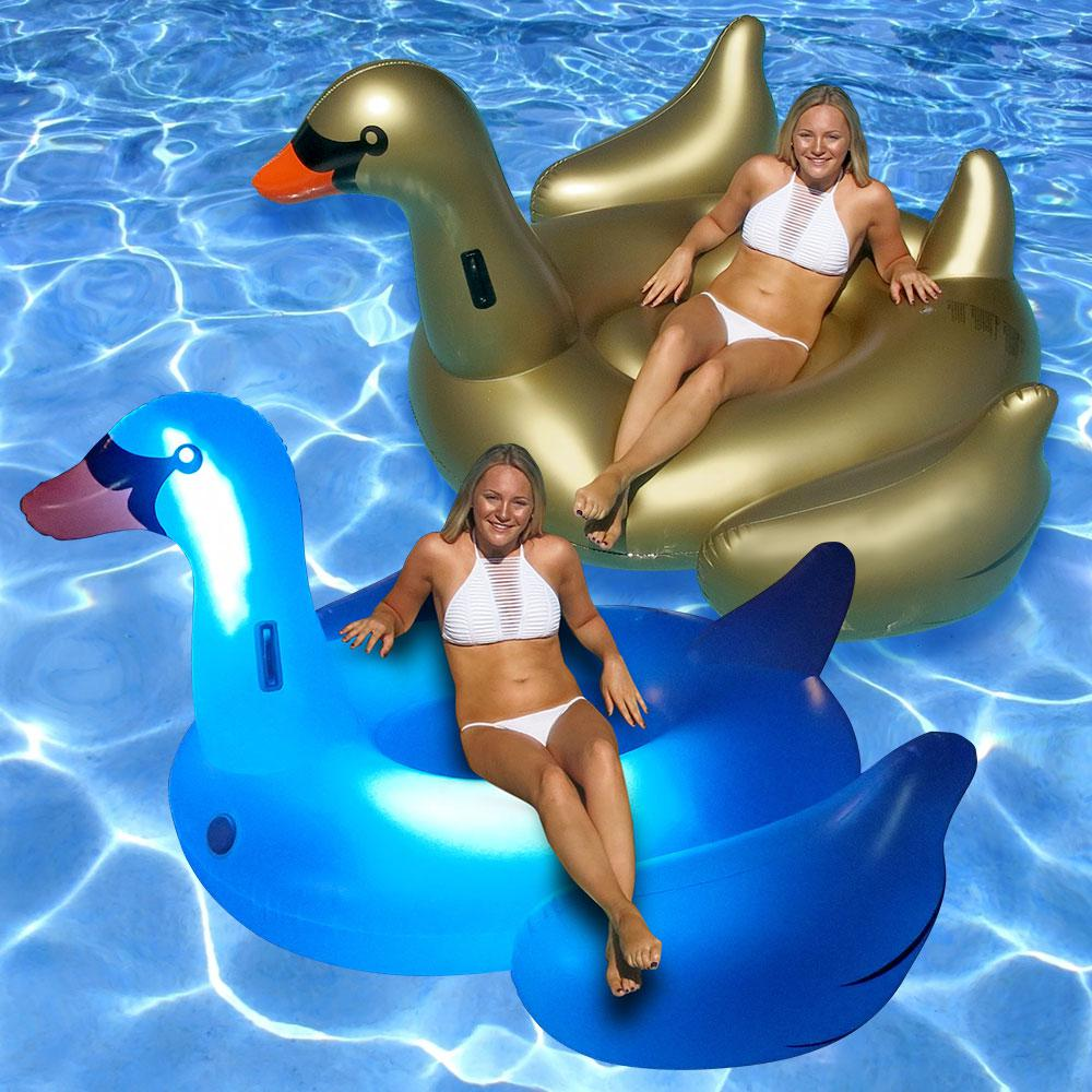 Swimline Giant LED Light Up Swan and Golden Goose Swimmin...
