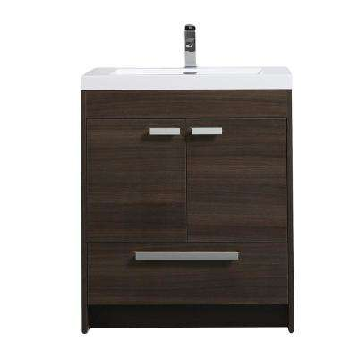 Lugano 30 in. W x 19 in. D x 34 in. H Vanity in Gray-Oak with Acrylic Vanity Top in White with White Basin