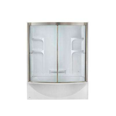 Ovation 60 in. Standard Fit Right Drain Bathtub Kit with Sliding Tub/Shower Door and Tub/Shower Wall in Artic White