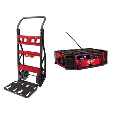 Milwaukee PACKOUT 20-inch 2-Wheel Utility Cart w/ M18 Lithium-Ion Cordless PACKOUT Radio/Speaker w/ Built-In Charger