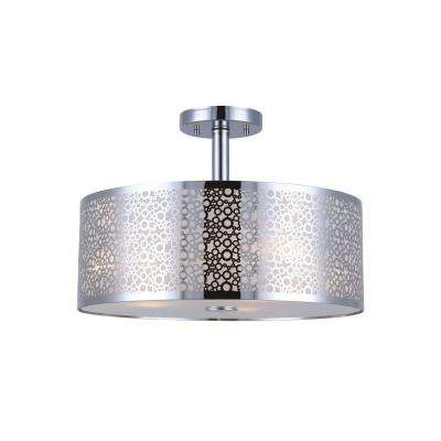 PIERA 3-Light Chrome Semi-Flush Mount Light with Glass Diffuser