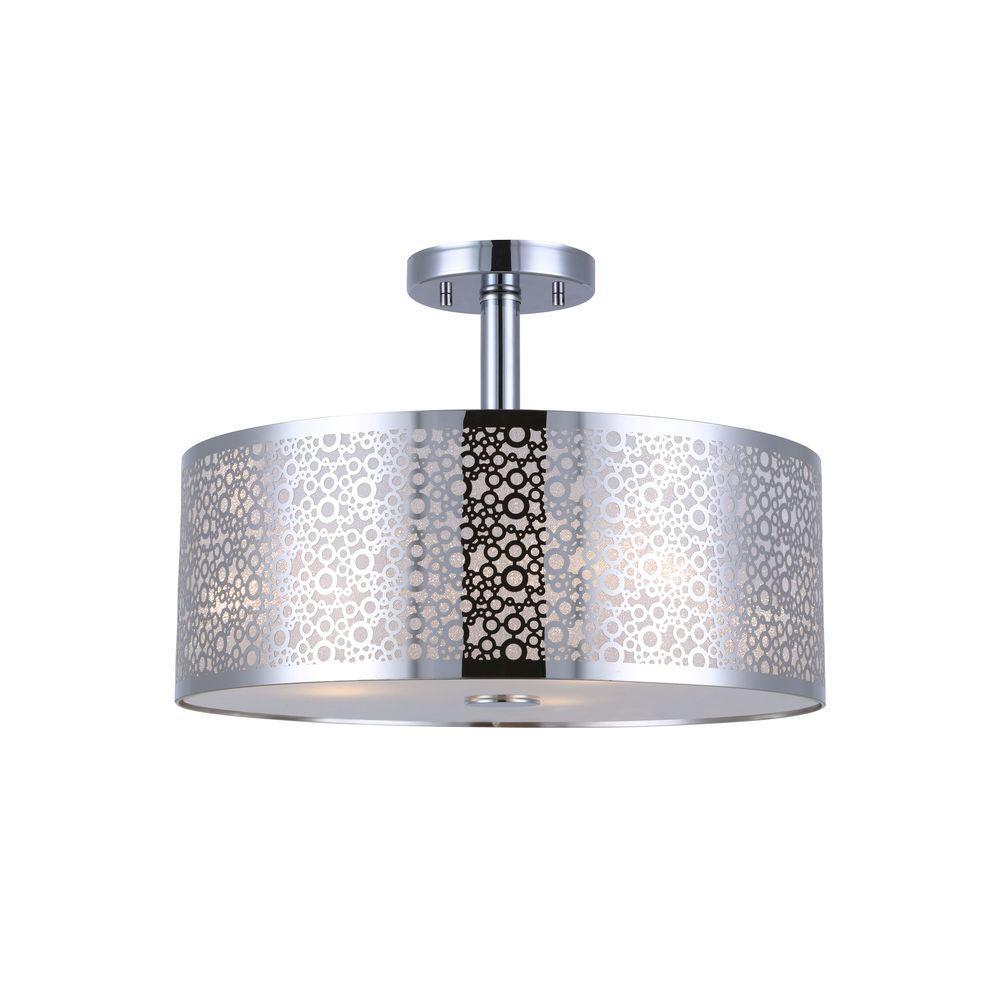 PIERA 3-Light Chrome Semi-Flush Mount Light with Glass Diffuser