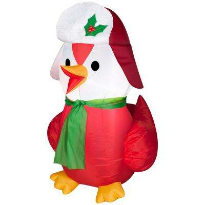 3.5 ft.  Inflatable Red Bird Wearing Hat and Scarf