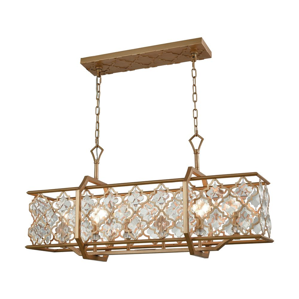 Armand 6-Light Long Matte Gold with Clear Crystal Chandelier