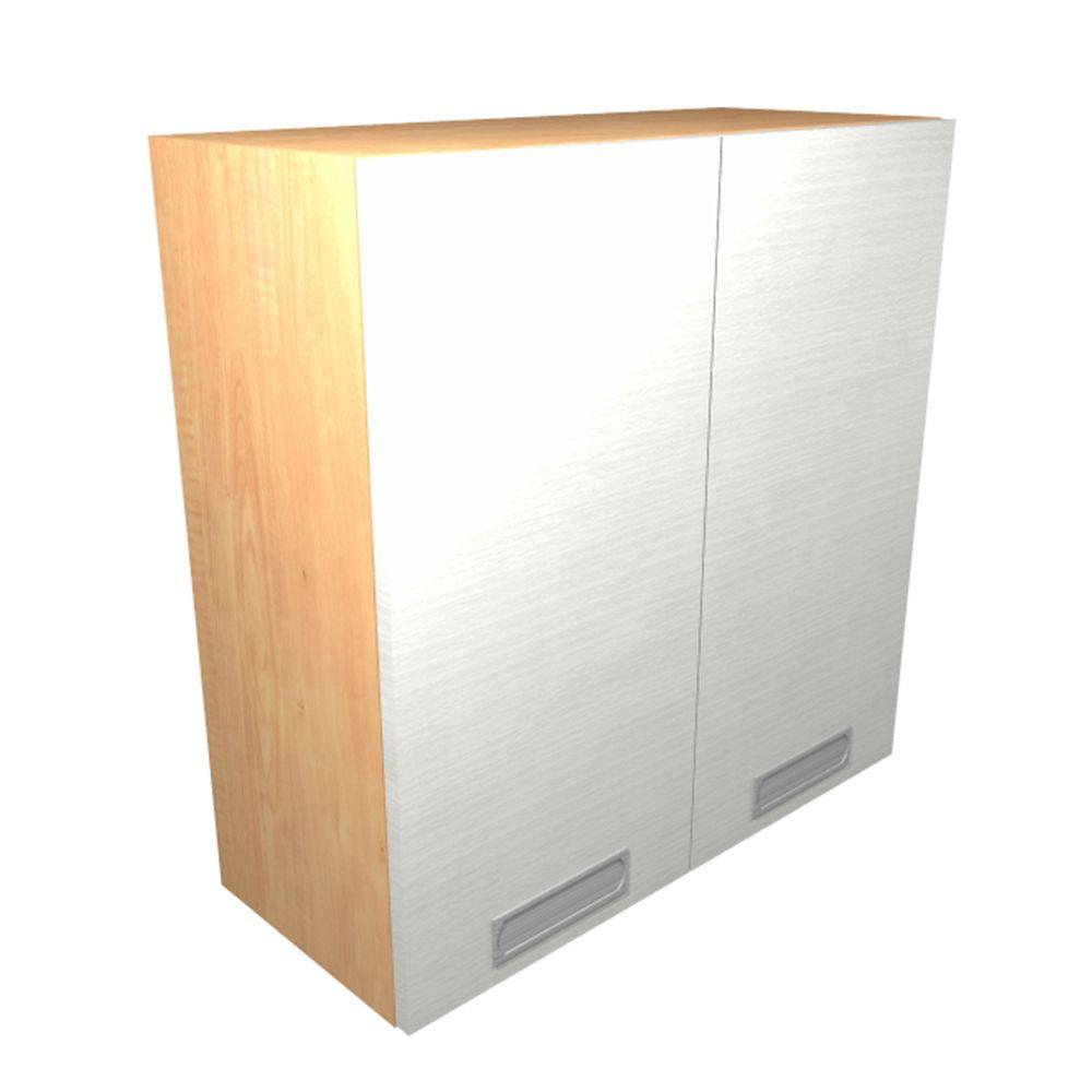 Home Decorators Collection Genoa Ready to Assemble 24 x 30 x 12 in. Wall Cabinet with 2 Soft Close Doors in Glacier, Glacier White Textured Melamine