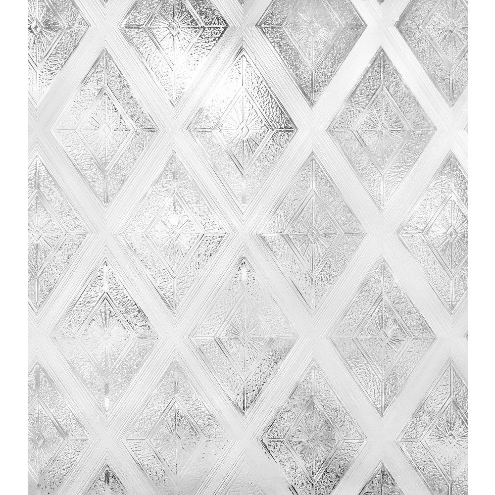 24 in. W x 36 in. H Diamond Glass Decorative Window