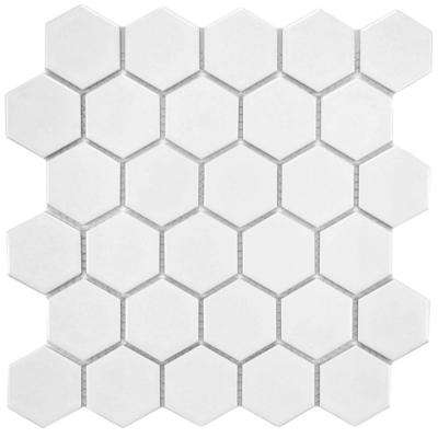Metro Hex 2 in. Matte White 10-1/2 in. x 11 in. x 6 mm Porcelain Mosaic Tile (8.02 sq. ft. / case)