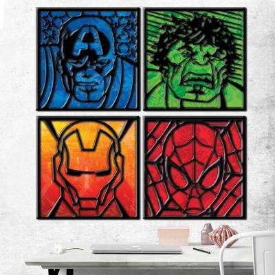 12 in. x 12 in. Avengers Characters with Laser Cut MDF (4-Pack)