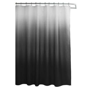 Creative Home Ideas Ombre Waffle Weave 70 inch W x 72 inch L Shower Curtain with Metal Roller Rings in Dark Gray by Creative Home Ideas