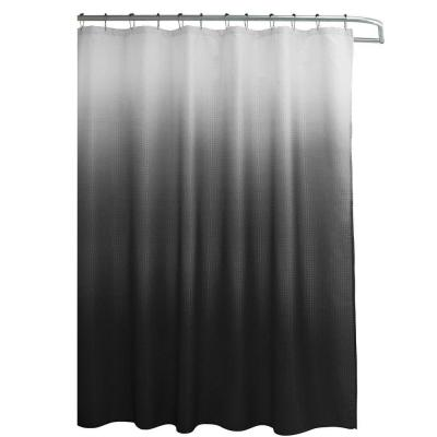Ombre Waffle Weave 70 in. W x 72 in. L Shower Curtain with Metal Roller Rings in Dark Gray