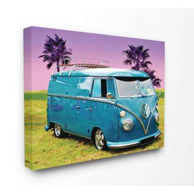 "30 in. x 40 in. ""Vintage 70s Blue VW Bus with Purple Palm Trees"" by Daphne Polselli Canvas Wall Art"