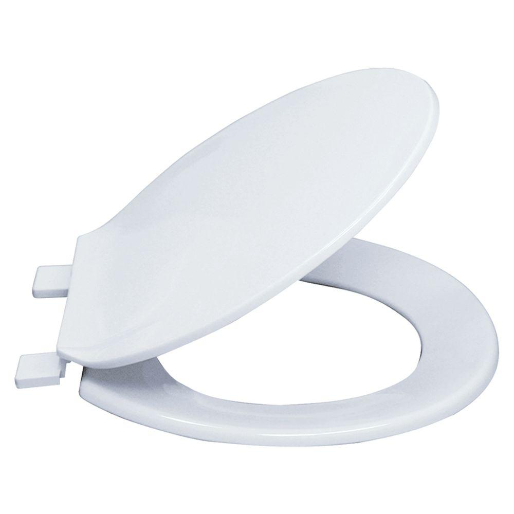 Ez Flo Round Plastic Closed Front Toilet Seat With Lid In