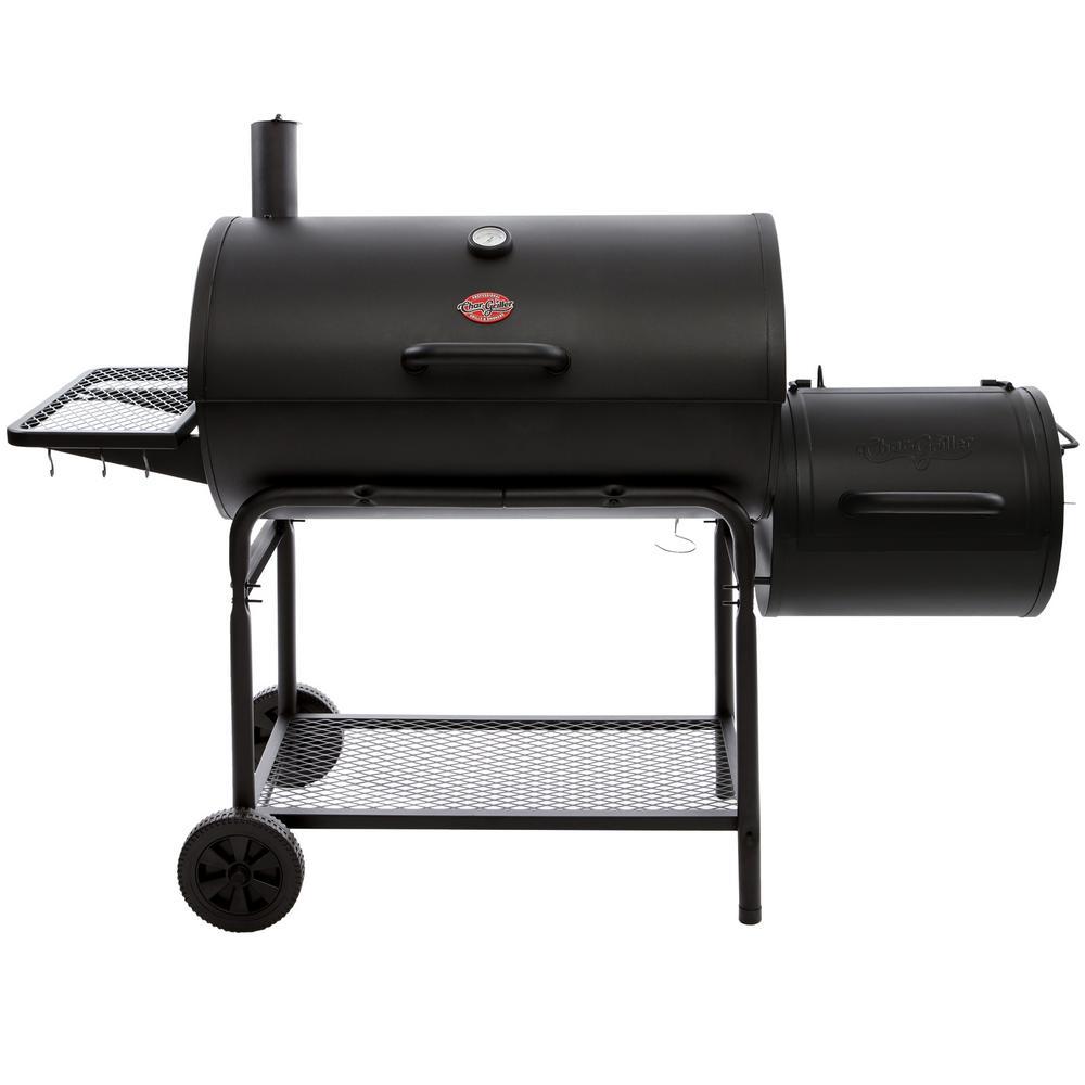 Smokin' Champ Charcoal Grill Horizontal Smoker in Black