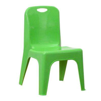 Green Plastic Stackable School Chair with Carrying Handle and 11 in. Seat Height