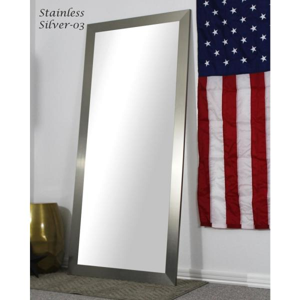 Large Glossy Silver Composite Modern Mirror (60 in. H X 21 in. W)