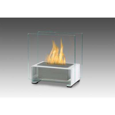 Paris 7 in. Ethanol Tabletop Fireplace in Gloss White