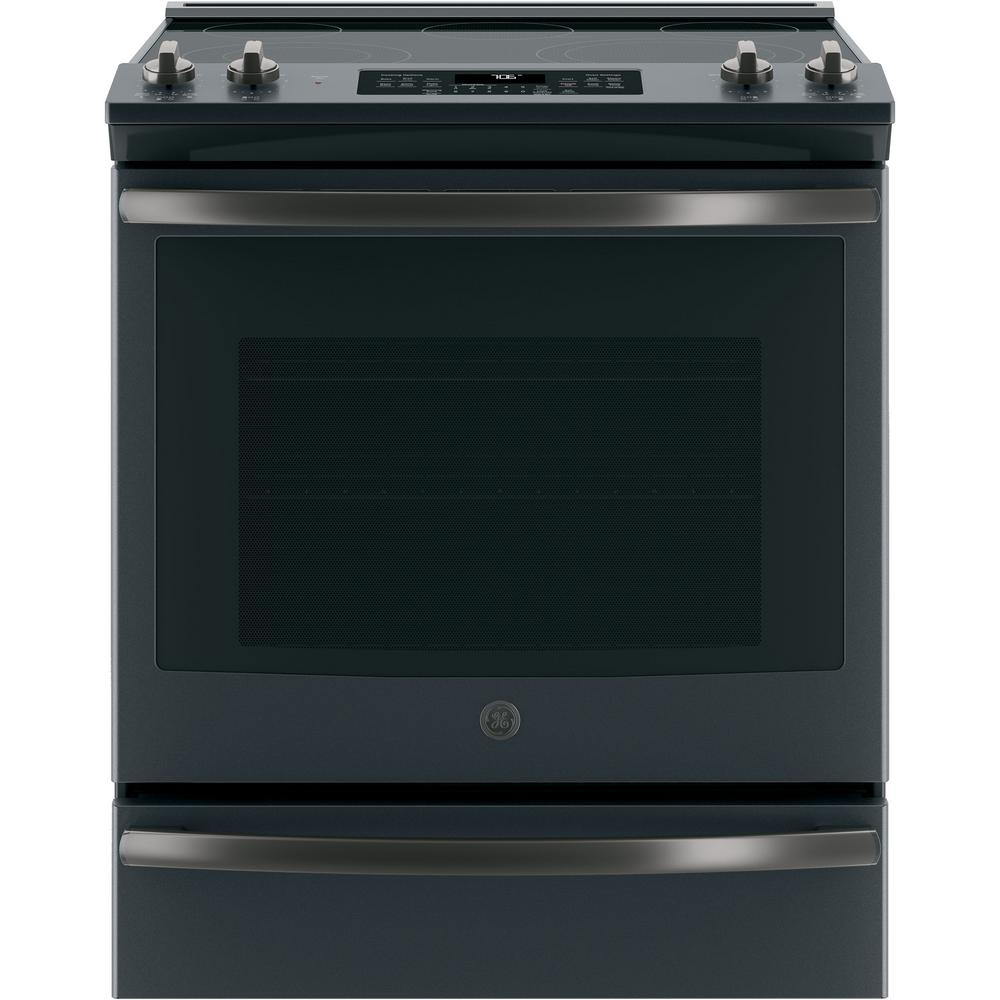 "GE JS760FLDS 30"" Slide In Electric Convection Range with 5.3 cu. ft. Capacity Fast Preheat Self-Clean with Steam Clean Option Smooth Glide Storage Drawer and Hidden Bake Oven Interior in Black Slate"