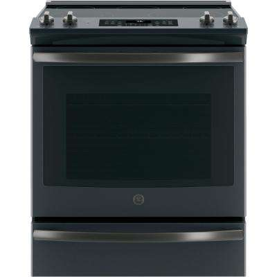 5.3 cu. ft. Slide-In Electric Range with Self-Cleaning Convection Oven in Black Slate, Fingerprint Resistant